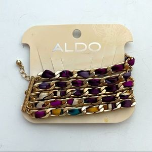 NWT Aldo Stacked Ribbon & Chain Bracelet